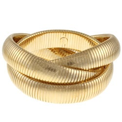 Celeste 18k Gold Overlay Interlocked Omega Stretch Bracelet