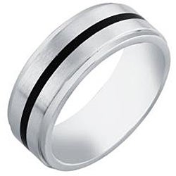 Cobalt Men's Black Enamel Accent Comfort Fit Band