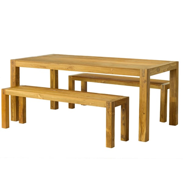 Reclaimed Teak Wood Dining Table and Benches Set (India)