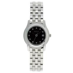 Gucci Women's 5505 Stainless Steel Black Dial Watch