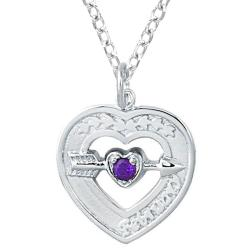 Sterling Silver February Birthstone Created Amethyst Heart Necklace