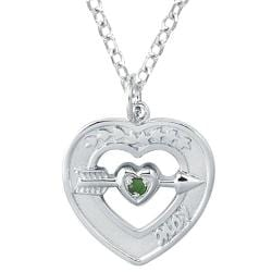 Sterling Silver May Birthstone Created Emerald Heart Necklace