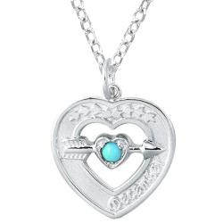 Sterling Silver December Birthstone Created Turquoise Heart Necklace