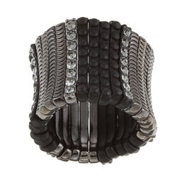 Celeste Brass Black Crystal Satin Stretch Ring