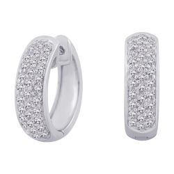 10k White Gold 1/2ct TDW Diamond Hoop Earrings (G-H, I2-I3)