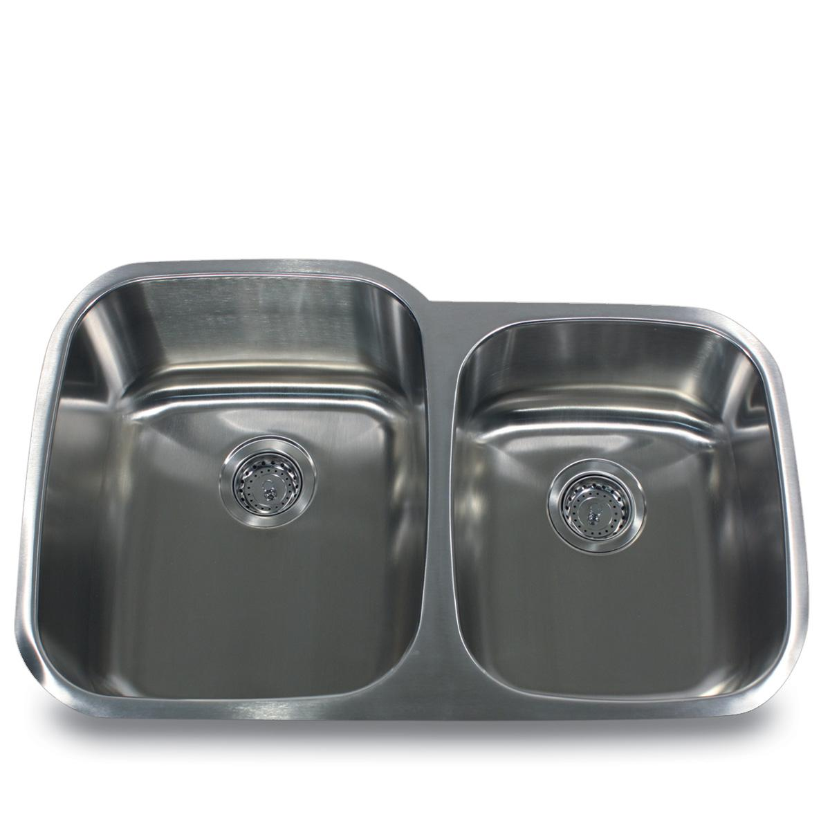 Double Bowl Stainless Steel Sink : Stainless Steel Offset Double Bowl Kitchen Sink - 13491707 - Overstock ...