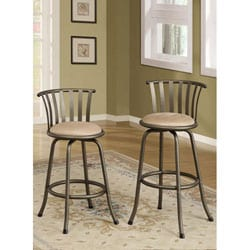 Pewter Finish Slat Back Adjustable Metal Swivel Counter Height Bar Stools (Set of 2)