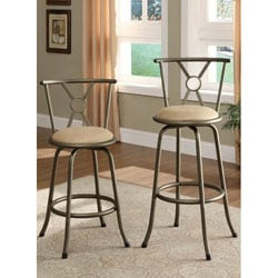 Pewter Finish Cross Back Adjustable Metal Swivel Counter Height Bar Stools (Set of 2)
