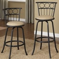 Black Finish Circle Back Adjustable Metal Swivel Counter Height Bar Stools (Set of 2)