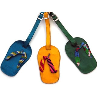 Set of 3 Handmade Leather Flip Flop Luggage Tags (India)