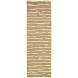 Handmade Soho Stripes Beige/ Gold N. Z. Wool Runner (2'6 x 12')