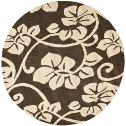 Handmade Soho Brown/ Ivory Floral New Zealand Wool Rug (6' Round)