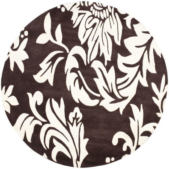 Safavieh Handmade Soho Brown/ Ivory New Zealand Wool Rug (6' Round)
