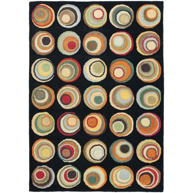 Safavieh Handmade Soho Candies Black/ Multi N. Z. Wool Rug (7'6 x 9'6)