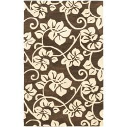 Handmade Soho Brown/Ivory Floral New Zealand Wool Area Rug (7'6