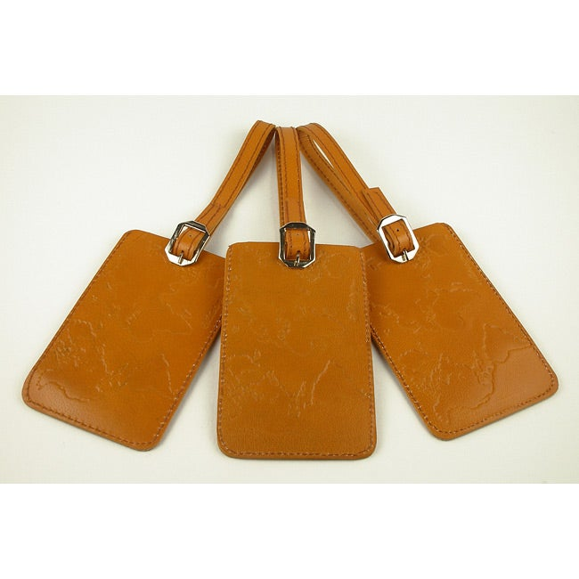 Set of 3 Handmade Leather Luggage Tags (India)