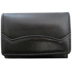Leatherbay Small Leather Black Keychain Wallet