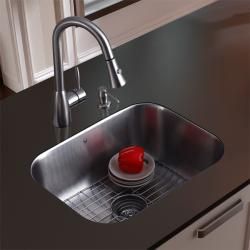 Vigo Undermount Stainless Steel Kitchen Sink/ Faucet/ Grid/ Dispenser