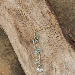 Aquamarine and Apatite 14k Goldfill Necklace
