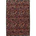 Nepalese Hand-knotted Black Bottle Caps Wool Rug (3' x 5')