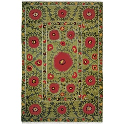 Nepalese Hand-knotted Green Poppies Wool Rug (5' x 7')