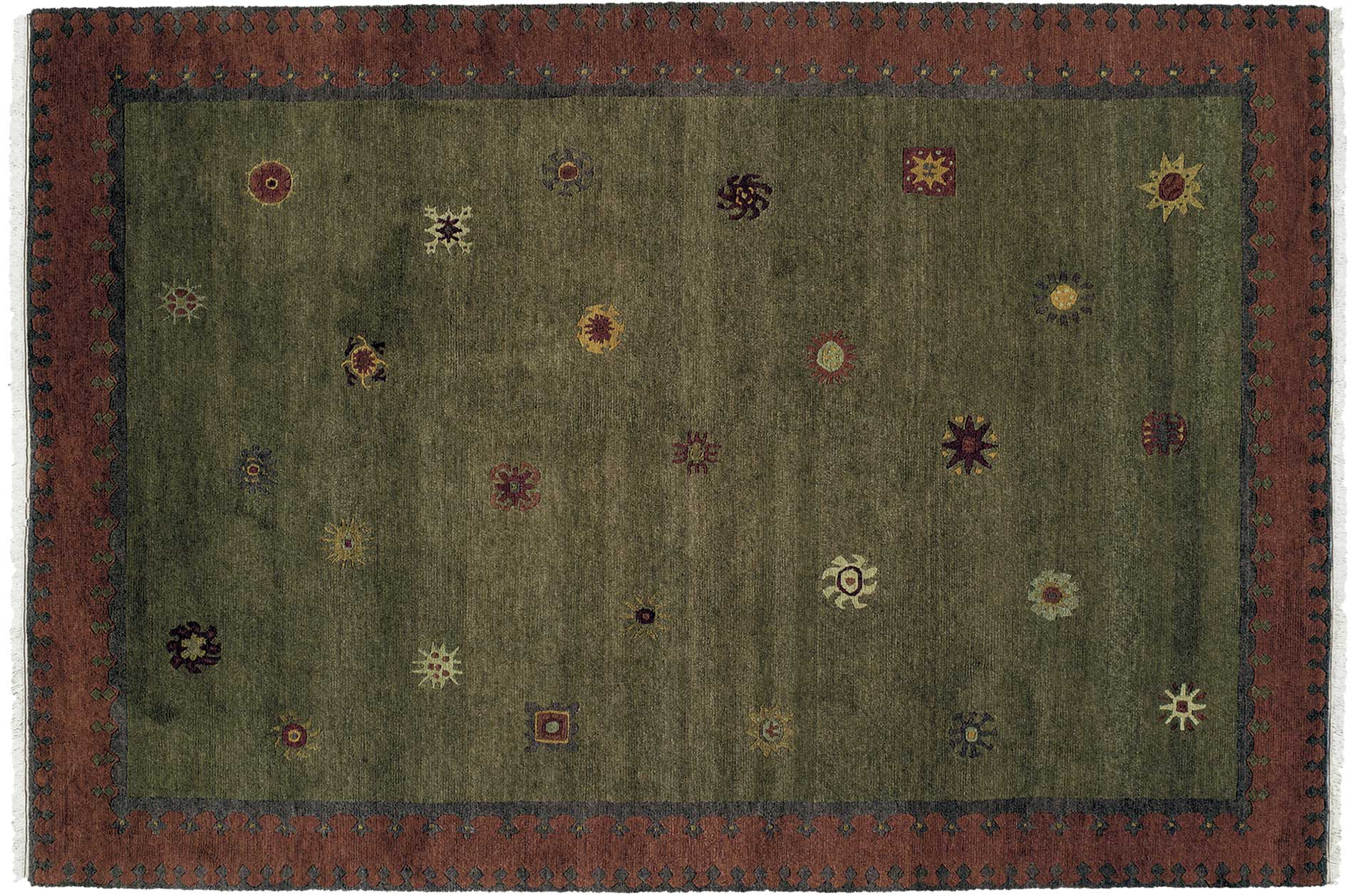Nepalese Hand-knotted Green Sol Moss Wool Rug (6' x 9')