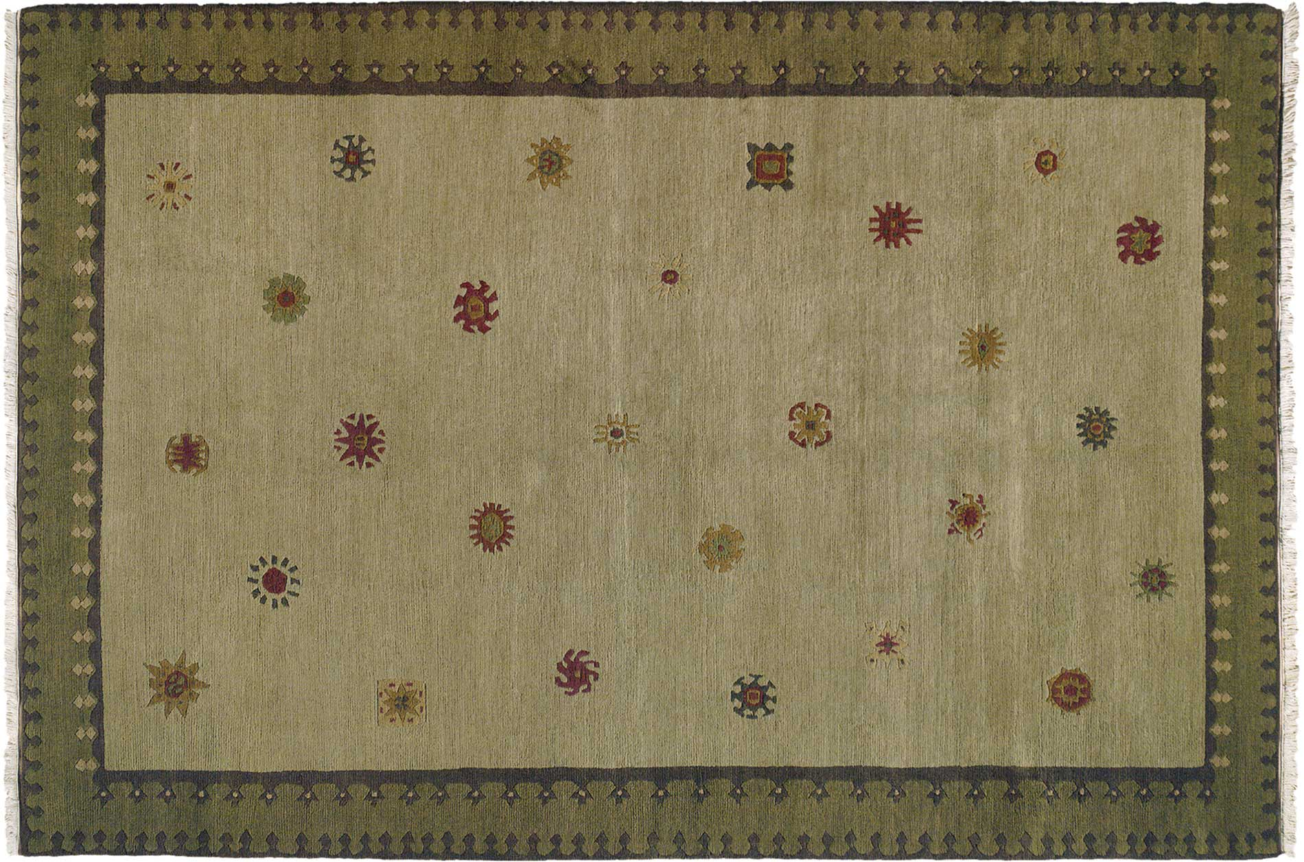 Nepalese Hand-knotted Green Sol Sage Wool Rug (2' x 3')