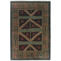 Nepalese Hand-knotted Chocolate Sundial Wool Rug (3' x 5')