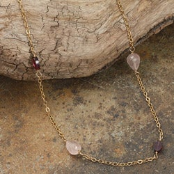 Rafia 14k Goldfill Rose Quartz and Garnet Necklace