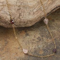 Rafia 14k Goldfill Rose Quartz and Garnet Necklace