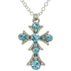 CGC Silvertone Clear Blue Cross Necklace