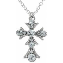 CGC Silvertone Clear Crystal Cross Necklace