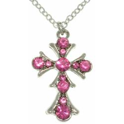 Carolina Glamour Collection Silvertone Clear Pink Cross Necklace