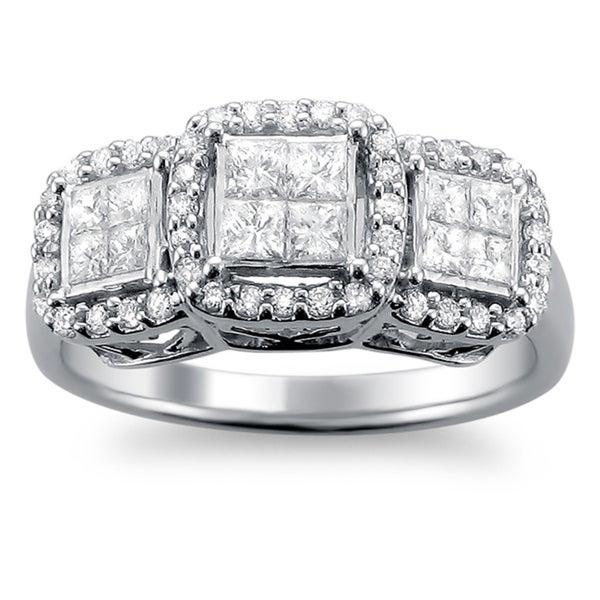 Montebello 14k White Gold 1ct TDW Princess Diamond Engagement Ring (H-I, I1-I2)