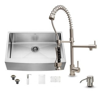 Vigo Stainless Steel Farmhouse Kitchen Sink, Faucet, Dispenser and Grid
