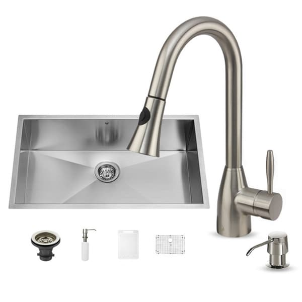 Vigo Stainless Steel Rust Free Undermount Kitchen Sink Faucet Combo Set Overstock Shopping