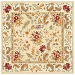 Handmade Paradise Ivory Wool Rug (6' Square)