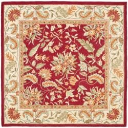 Handmade Paradise Red Wool Rug (8' Square)