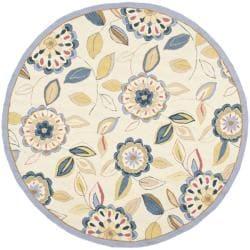 Safavieh Hand-hooked Chelsea Floral Garden Ivory/ Blue Wool Rug (4' Round)