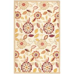 Safavieh Hand-hooked Floral Garden Ivory/ Pink Wool Rug (5'3 x 8'3)