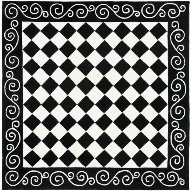 Safavieh Hand-hooked Diamond Black/ Ivory Wool Rug (8' Square)