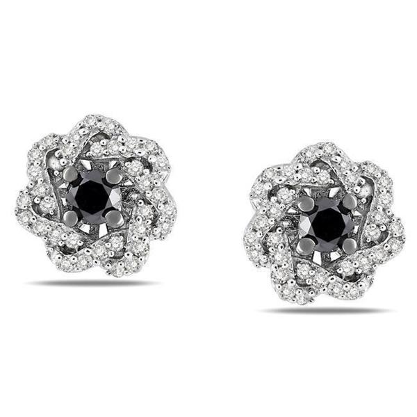 Sterling Silver 1/2ct TDW Black and White Diamond Earrings (G-H, I3)