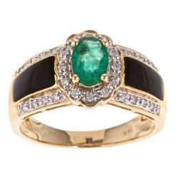 D'Yach 14k Yellow Gold Emerald, Onyx and 1/5ct TDW Diamond Ring (G-H, I1-I2)