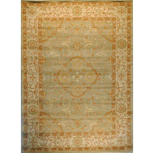 Indo Hand-tufted Green/ Beige Wool Rug (3' x 5')