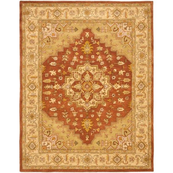 Safavieh Handmade Heritage Medallion Rust/ Gold Wool Rug (9'6 x 13'6)