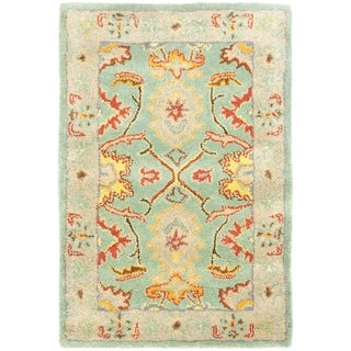 Handmade Heritage Treasures Light Blue/ Ivory Wool Rug (2' x 3')