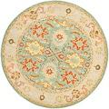 Safavieh Handmade Heritage Treasures Light Blue/ Ivory Wool Rug (6' Round)