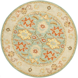 Handmade Heritage Treasures Light Blue/ Ivory Wool Rug (6' Round)