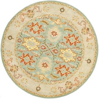Handmade Heritage Treasures Light Blue/ Ivory Wool Rug (6' Round)