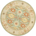 Handmade Heritage Treasures Light Blue/ Ivory Wool Rug (6&#39; Round)
